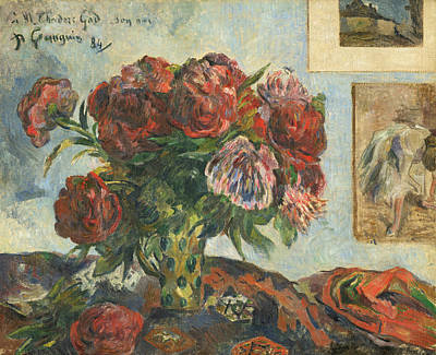 Peonies Painting - Still Life With Peonies by Paul Gauguin
