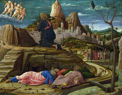 The Agony In The Garden Print by Andrea Mantegna