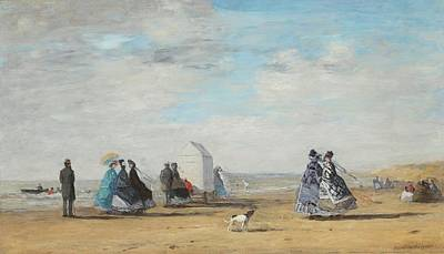 Eugene Boudin Painting - The Beach by Eugene Boudin