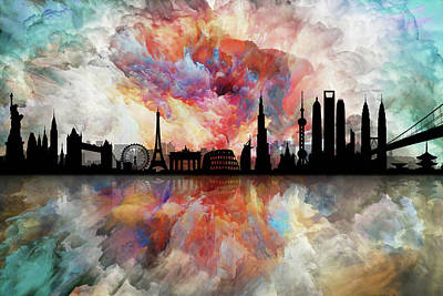 The Best City Skyline Print by Lilia D