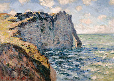 Wave Painting - The Cliff Of Aval, Etretat by Claude Monet
