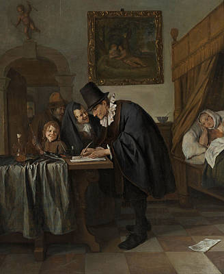 Bed Painting - The Doctor's Visit by Jan Steen