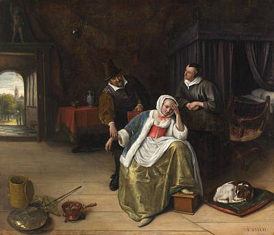 Puppies Painting - The Lovesick Maiden by Jan Steen