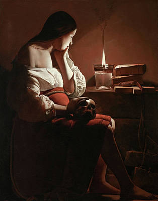 Candle Painting - The Magdalen With The Smoking Flame by Georges de La Tour