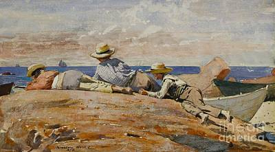 Shores Painting - Three Boys On The Shore by Celestial Images