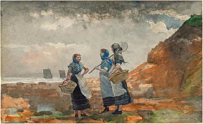 Three Fisher Girls. Tynemouth Print by Winslow Homer