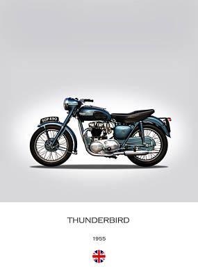 Classic Cycle Photograph - Triumph Thunderbird 1955 by Mark Rogan