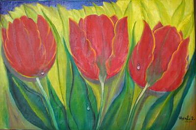 Mixed Media - 3 Tulips - 3 Tulipas by Shanta Rathie