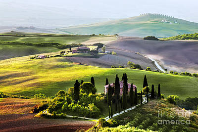 Tuscany Landscape At Sunrise Print by Michal Bednarek