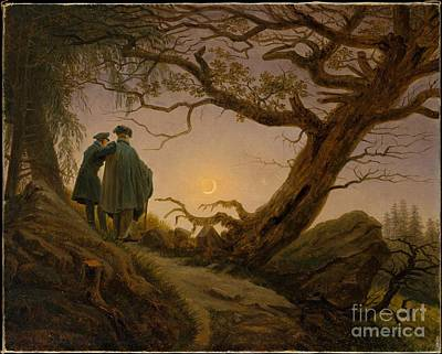 Caspar Painting - Two Men Contemplating The Moon by Celestial Images