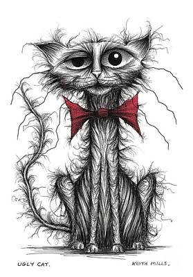Moggy Drawing - Ugly Cat by Keith Mills