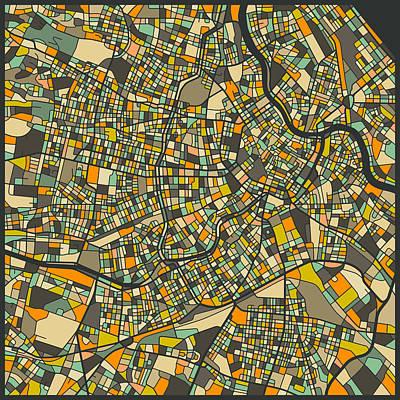 Vienna Digital Art - Vienna Map by Jazzberry Blue