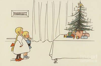 Vintage Christmas Card Print by German School