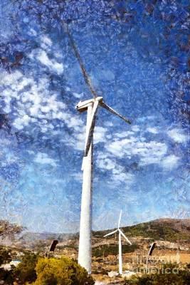 Pylon Painting - Wind Turbines by George Atsametakis