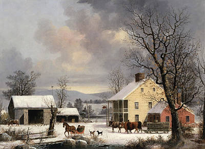 Dogs In Snow Painting - Winter In The Country by George Henry Durrie
