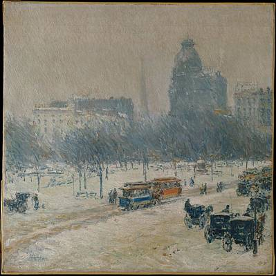 Childe Hassam Painting - Winter In Union Square by Childe Hassam