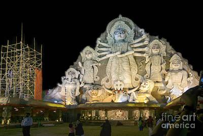 World's Biggest Durga Idol At Puja Festival 70 Feet Tall Made Of Clay Print by Rudra Narayan  Mitra