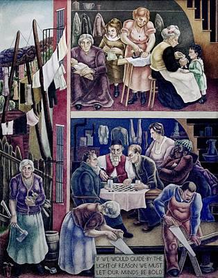 Wpa Mural. Society Freed Through Print by Everett