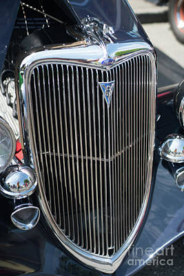 Greyhound Photograph - 30s Vintage Ford Hotrod With Chrome Greyhound by Mike Reid