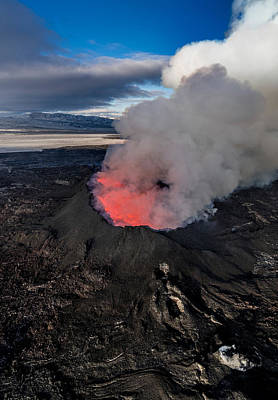Volcano Eruption At The Holuhraun Print by Panoramic Images