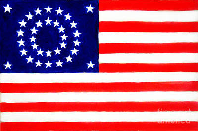 Patriotism Painting - 34-star American Flag by Sofia Goldberg