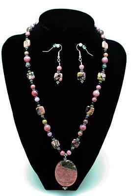 Semi Precious Stone Jewelry - 3571 Rhodonite Set by Teresa Mucha