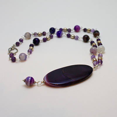 3573 Banded Agate Necklace  Original by Teresa Mucha