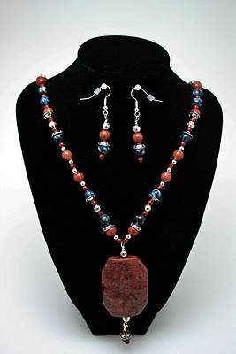 3578 Jasper And Agate Long Necklace And Earrings Set Original by Teresa Mucha