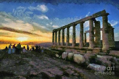 Pillar Painting - Temple Of Poseidon During Sunset by George Atsametakis