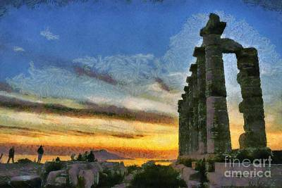 Silhouette Painting - Temple Of Poseidon During Sunset by George Atsametakis