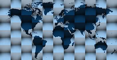 Pattern Digital Art - 3d Blue Worldmap 1 by Alberto RuiZ