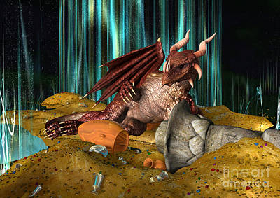 Digital Art - 3d Illustration Dragon Treasure by Design Windmill