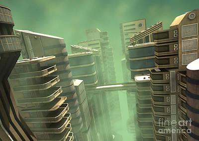 Digital Art - 3d Illustration Futuristic City by Design Windmill