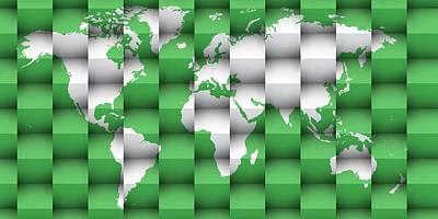 Background Digital Art - 3d World Map Composition 1 by Alberto RuiZ