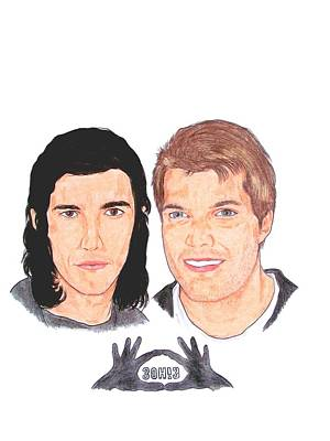 Alternative Rock Band Drawing - 3oh3 by Michael Dijamco