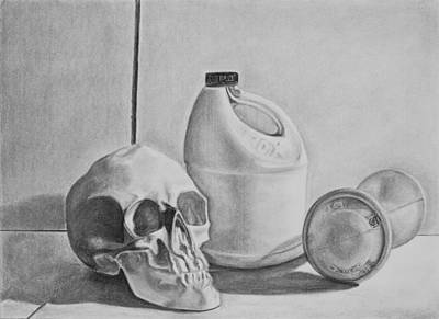Skull Drawing - 3WO by Margaret  Marzullo