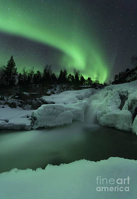 Landscape In Norway Photograph - A Wintery Waterfall And Aurora Borealis by Arild Heitmann