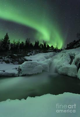 Polar Aurora Photograph - A Wintery Waterfall And Aurora Borealis by Arild Heitmann