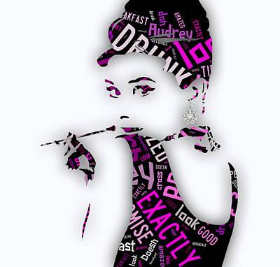 Audrey Hepburn Mixed Media - Audrey Hepburn Breakfast At Tiffany's Quotes by Marvin Blaine