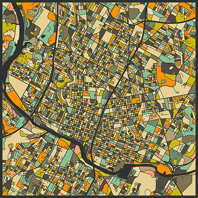 Austin Texas Digital Art - Austin Map by Jazzberry Blue