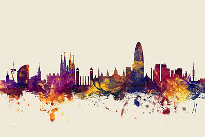 Barcelona Spain Skyline Print by Michael Tompsett