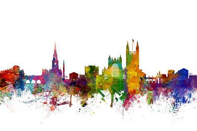 Great Digital Art - Bath England Skyline Cityscape by Michael Tompsett