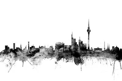 Berlin Digital Art - Berlin Germany Skyline by Michael Tompsett