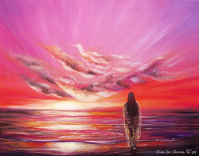 Seascape Painting - Beyond The Sunset  by Gina De Gorna
