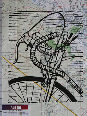 Lino Drawing - Bike 2 On Map by William Cauthern