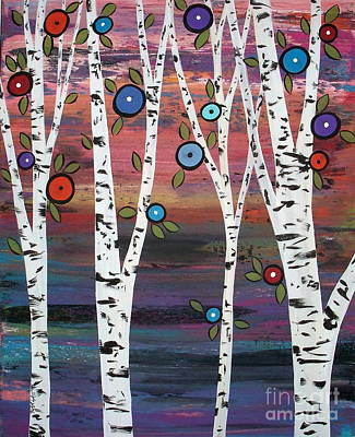 Tree Art Painting - 4 Birches by Karla Gerard