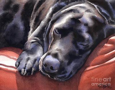 Black Lab Watercolor Painting - Black Lab by David Rogers