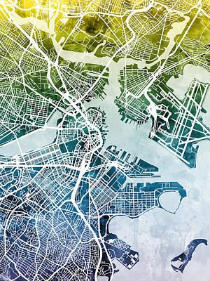 Watercolor Map Digital Art - Boston Massachusetts Street Map by Michael Tompsett