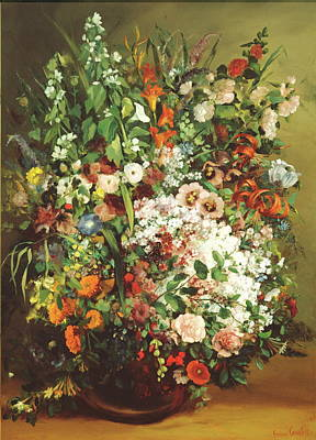 Bouquet Of Flowers In A Vase Print by Gustave Courbet