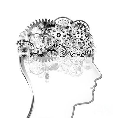 Meshed Photograph - Brain Design By Cogs And Gears by Setsiri Silapasuwanchai